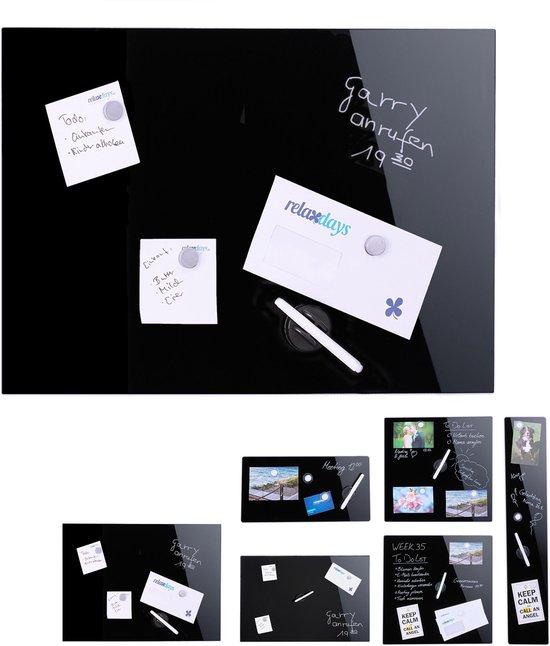 Afbeelding van relaxdays glassboard zwart - magneetbord - 60 x 40 cm