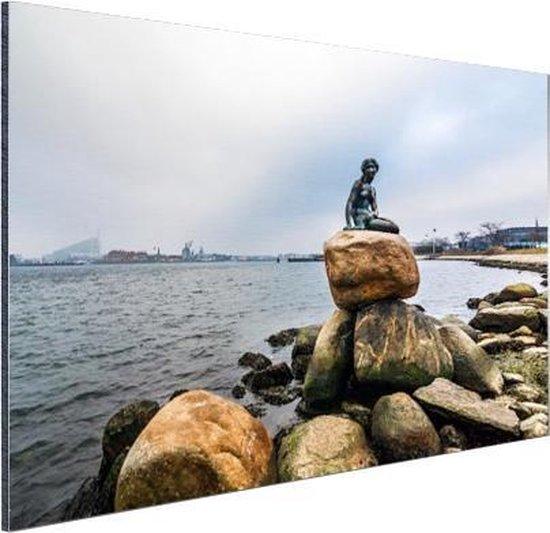 De kleine zeemeermin Kopenhagen Aluminium 120x80 cm - Foto print op Aluminium (metaal wanddecoratie)