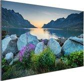 Ersfjordbotn fjord Noorwegen  Aluminium 180x120 cm - Foto print op Aluminium (metaal wanddecoratie) XXL / Groot formaat!
