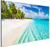 Palmbomen bij wit strand en blauw water Aluminium 180x120 cm - Foto print op Aluminium (metaal wanddecoratie) XXL / Groot formaat! / Zee en Strand