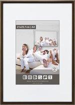 Halfronde Aluminuim Wissellijst - Fotolijst - 40x60 cm - Helder Glas - Donker Brons - 10 mm