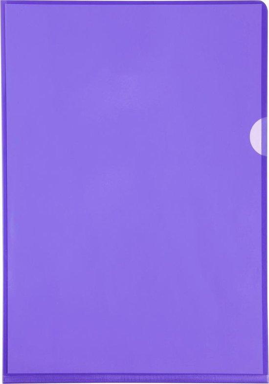 10x Pak van 10 L mappen - gladde PVC 13/100e - A4, Purper