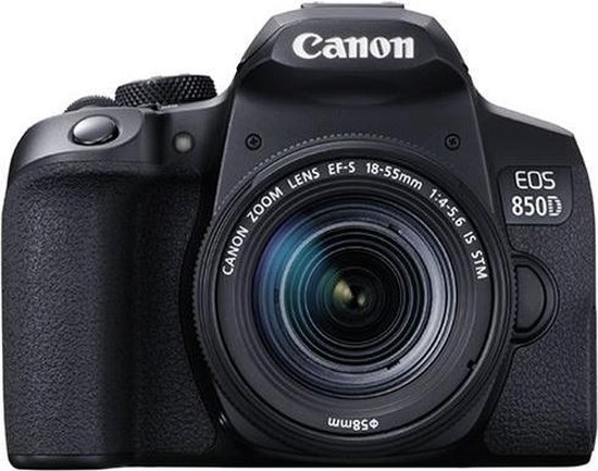 Canon EOS 850D + EF-S 18-55mm f/4-5.6 iS STM Zwart