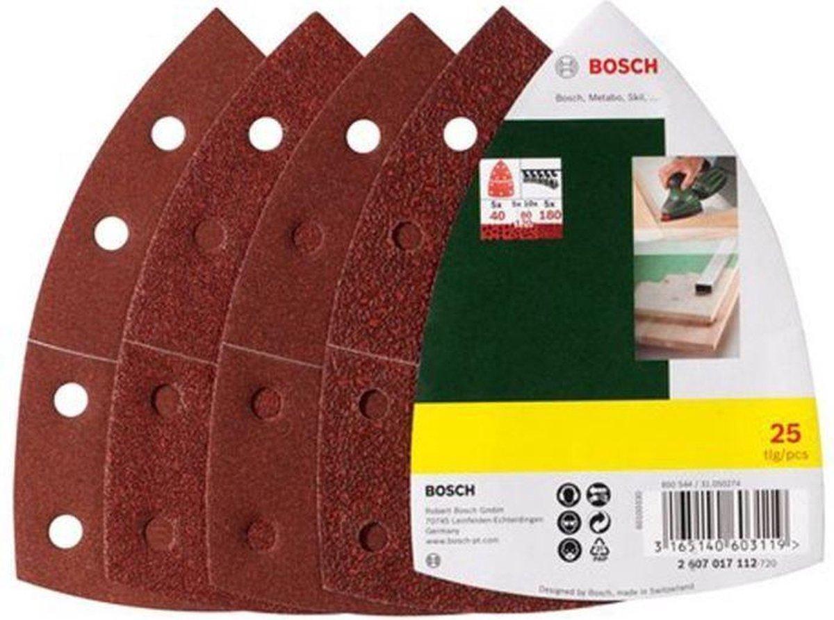 Bosch 25-delige schuurbladset voor multischuurmachines 102 x 62 mm - korrel 40; 80; 120; 180