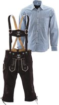 Lederhosen set | Top Kwaliteit | Lederhosen set C (bruine broek + blauw overhemd), S, 52