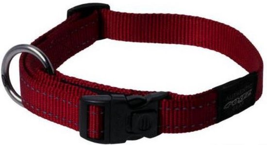 Rogz For Dogs Fanbelt Halsband - Rood - 20mm x 34-56cm