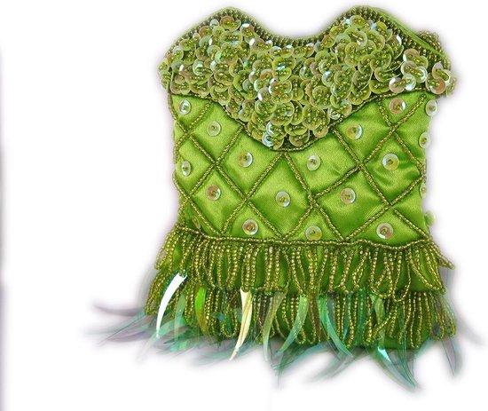 Tasje Lime-Groen Pailletten en Kraaltjes, Schouder Tas String Kralen 140 cm, Handgemaakt Indonesië 15 x13 cm