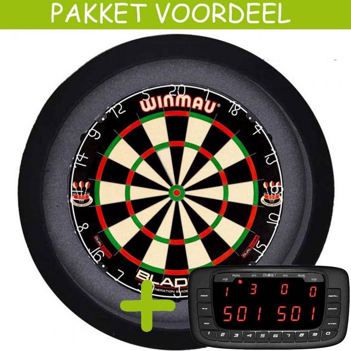 Elektronisch Dart Scorebord VoordeelPakket (Chalkie + ) - Dual Core - Dartbordverlichting Basic (Zwart)