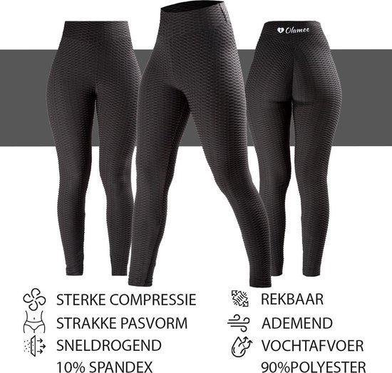Sportlegging – Olamee – Anti Cellulite Legging - Absorberend - Yoga – Fitness – Vrije tijd - Scrunch Butt - High Waist - Gym Sports Wear – Elastisch – Tweede huid – Platte buik – A Kwaliteit – Rondere billen – Smallere taille - Zwart-M