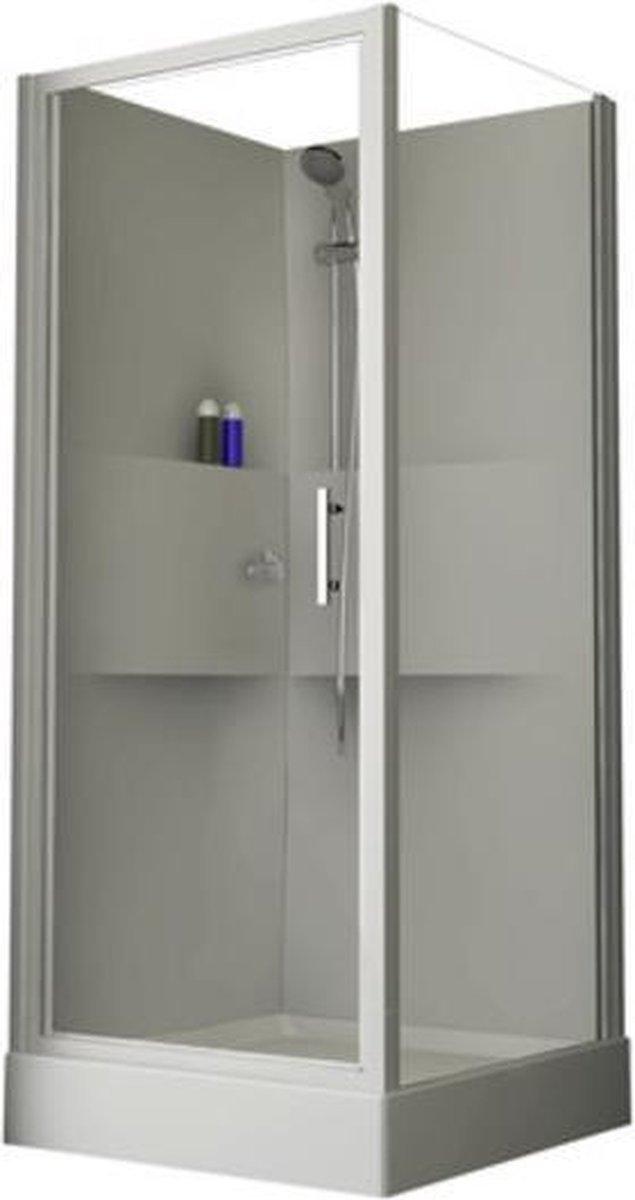 Nemo Start Lilou douchecabine 90x90cm draaideur met zijwand met douchebak acryl wit profiel en helder glas