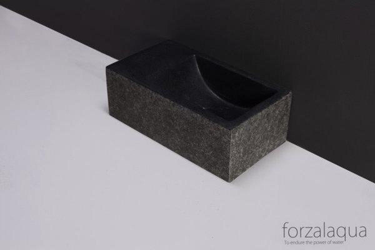 Forzalaqua Venetia Xs fontein 29x16x10cm 1 kraangat links rechthoek graniet gezoet gebrand antraciet
