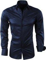 Montazinni - Heren Overhemd - Geruit - Kreuk en Strijkvrij - Slim Fit