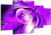 Canvas schilderij Abstract | Paars, Wit | 160x90cm 4Luik