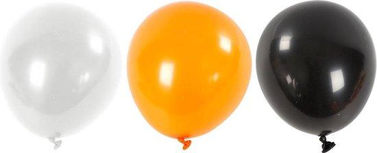 Creotime Ballonnen Voor Helium Zwart/ Oranje/ Wit 10 Stuks