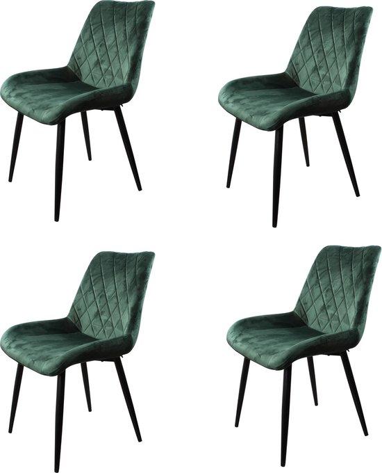DS4U® benito eetkamerstoel 2.0 - velvet - kuipstoel - stof - velours - groen - set van 4