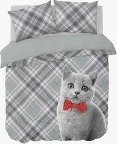 Dekbedovertrek Cat Bowtie -  1-persoons (140 x 200/220 cm + 1 kussensloop) - Katoen - Rood |  Grijs - Nightlife