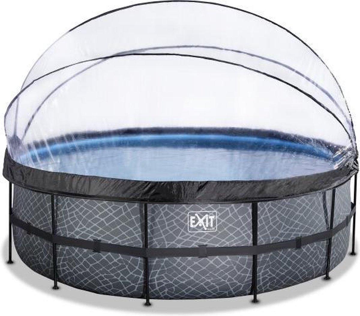 EXIT Stone zwembad ø450x122cm met overkapping en filterpomp - grijs