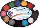 PXP Professional Colours palet basic 12 x 4 gram with 2 sponges and 2 pencils