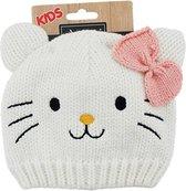 Wit kinder/peuter muts poes/kat met oortjes - wintermuts voor peuters 2-4 jaar met dierensnoet
