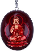 Zilveren Boeddha ketting ketting hanger - in hars gekerfd