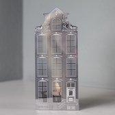 Invotis waxinelicht houder metaal huisje Amsterdam - Uitvoering - Klokgevel