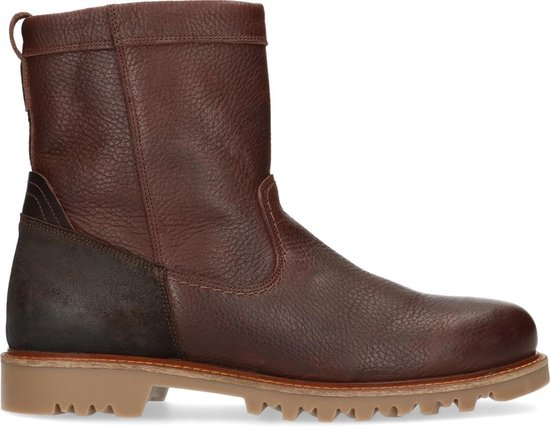 Sacha - Heren - Bruine leren boots met imitatiebont - Maat 40