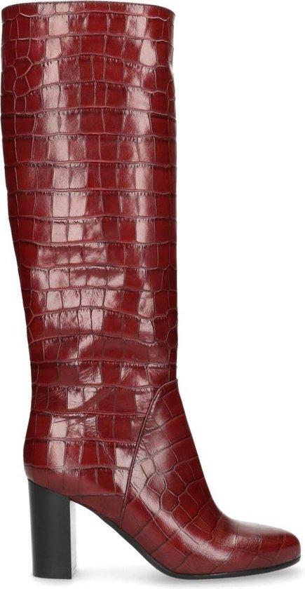 Bordeaux rode laarzen met hak Damesschoenen – SACHA