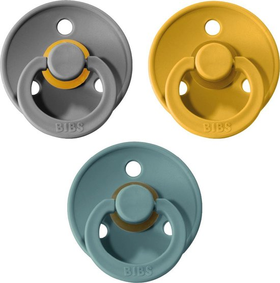 Product: BIBS Fopspeen - Maat 2 (6-18 maanden) - 3 stuks - Oker geel, Island Sea en Iron, van het merk BIBS