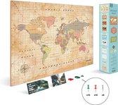 Miss Wood - WOODY MAP Watercolor kurken wereldkaart - 90x60cm (XL) - Old School