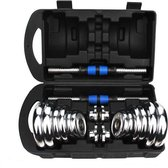 I-Wannahave Dumbell set chroom/blauw luxe - inclus