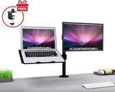 Säkert ® – Monitor arm voor laptop scherm (tot 32 inch) + monitor – Monitor beugel ook geschikt voor 2 schermen – Voor bureau bevestiging – Zwart