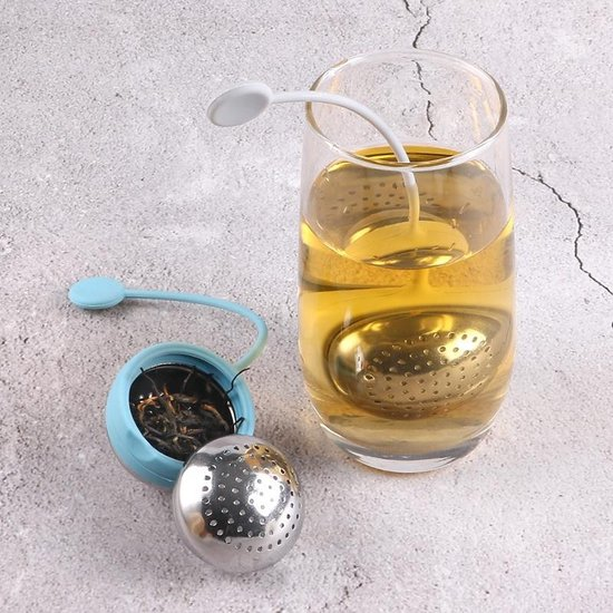 Theebal  - Theebol - Theezakjeshouder -Theezakjes voor losse thee - Theezakje houder - Thee ei - Thee filter - Kruidenbol - Metaal - 17.5 cm