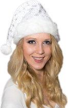 Witte kerstmuts met dikke vachtrand