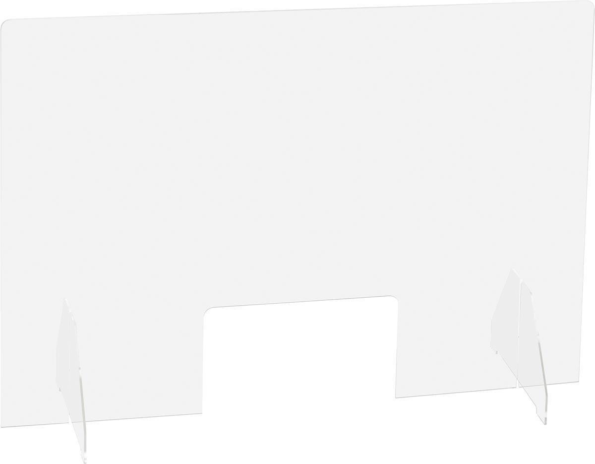 Plexiglas - Preventiescherm - Beschermwand - Glashelder - 95 x 58 cm - Staand - Corona scherm - Afstand houden Covid19 - Balie scherm - Bureau scherm