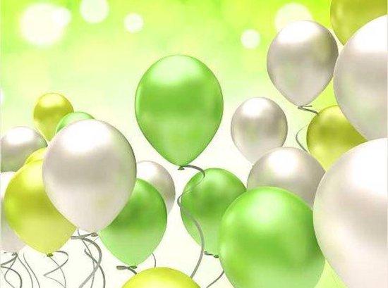 50 stuks lente kriebel assortiment grote metallic ballonnen - Nedville collectie -Chrome lime, Chrome zilver, groen - verjaardag ballonnen - extra groot - top kwaliteit bio afbreekbaar latex - voor helium, lucht, etc. - met snel sluiters t.w.v. 10,95