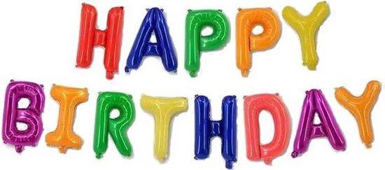 Happy Birthday Ballonnen -Kleur - 40cm p.s. - Folie Ballon - Thema Verjaardag - Feest - Ballonnen set - Slinger - Versiering - Helium ballon