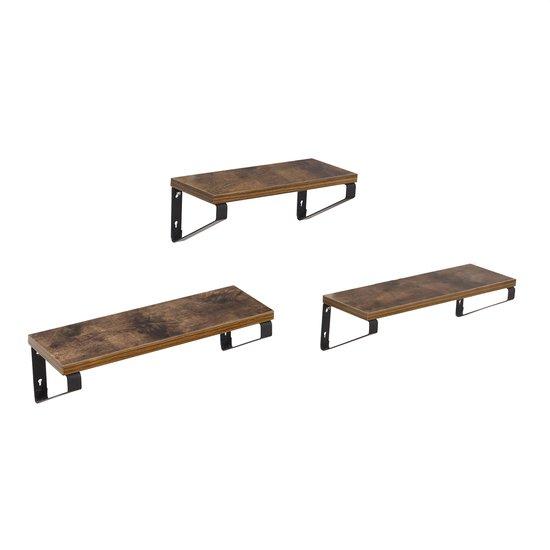 ZIZIKA Wandplank Set van 3 in Vintage Hout – Boekenplank - Wandrek – Industrieel – Zwart / Hout