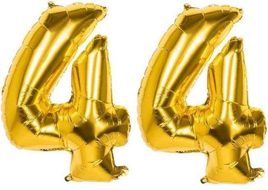 44 Jaar Folie Ballonnen Goud - Happy Birthday - Foil Balloon - Versiering - Verjaardag - Man / Vrouw - Feest - Inclusief Opblaas Stokje & Clip - XXL - 115 cm