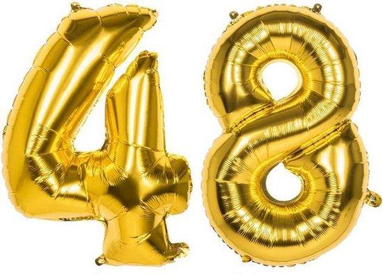 48 Jaar Folie Ballonnen Goud - Happy Birthday - Foil Balloon - Versiering - Verjaardag - Man / Vrouw - Feest - Inclusief Opblaas Stokje & Clip - XXL - 115 cm