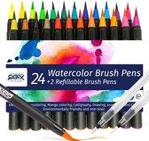 QBIX Brush pennen set - Penseelstiften brush pens - 26 brushpen set