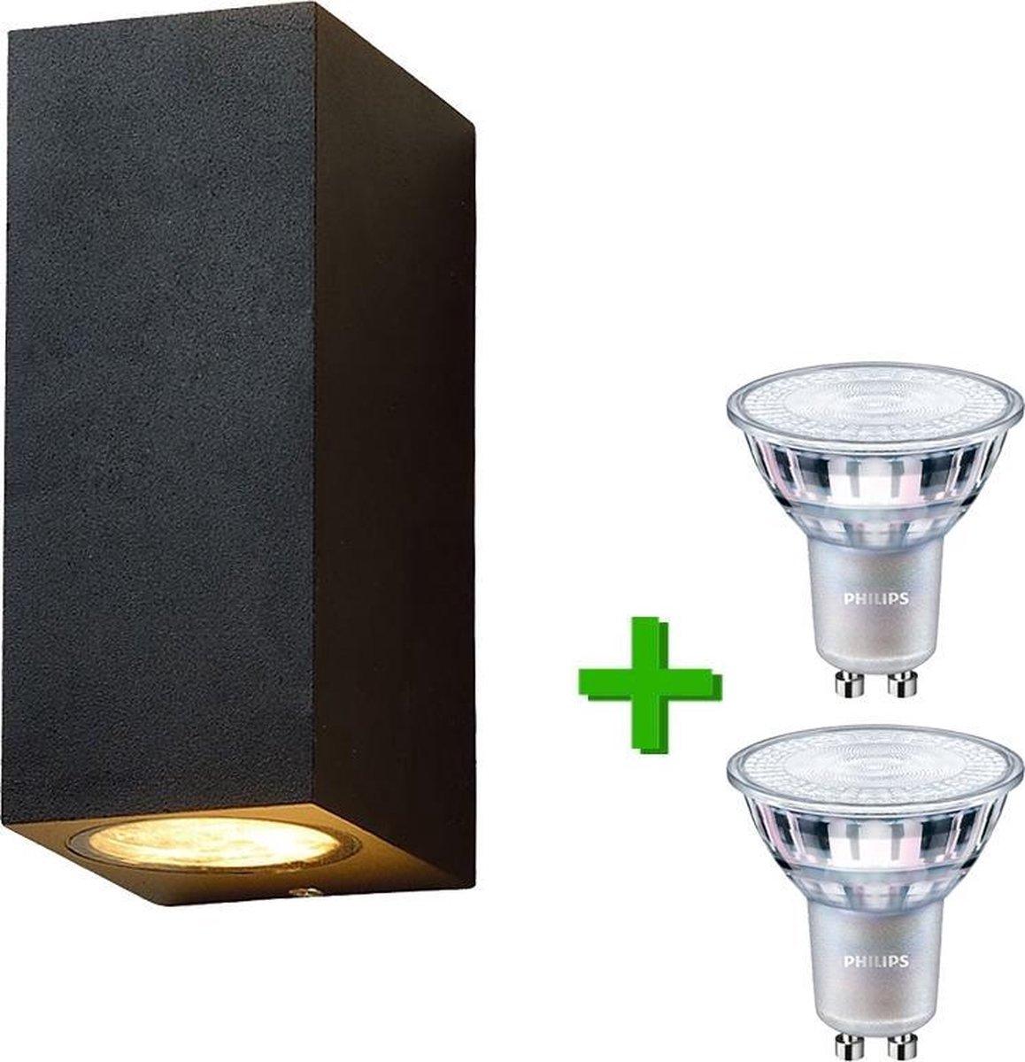 Lybardo buitenlamp / wandlamp Cannes Zwart + 2x Philips GU10 LED lamp 3.5W - 2700K Warm Wit