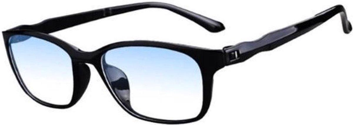 Trendy Blue Light Leesbril - Computer Bril - Blauw licht filter - zwart - sterkte +1.00