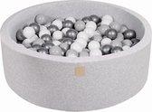 MeowBaby® Ronde Ballenbak set incl 200 ballen 90x30cm - Licht Grijs: Zilver, Grijs, Wit