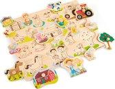 New Classic Toys Grote Houten Legpuzzel Boerderijdieren 16 puzzelstukjes - FSC® 100%-gecertificeerd hout