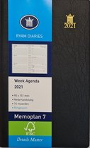 Afbeelding van Ryam Zakagenda 2021 - Memoplan 7 met Zachte Kaft met Ringband ZWART (9cmx15cm)