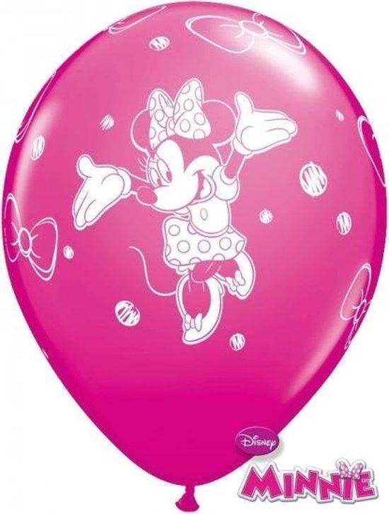Minnie Mouse kinder feestje thema ballonnen 12x stuks - Feestartikelen/versieringen