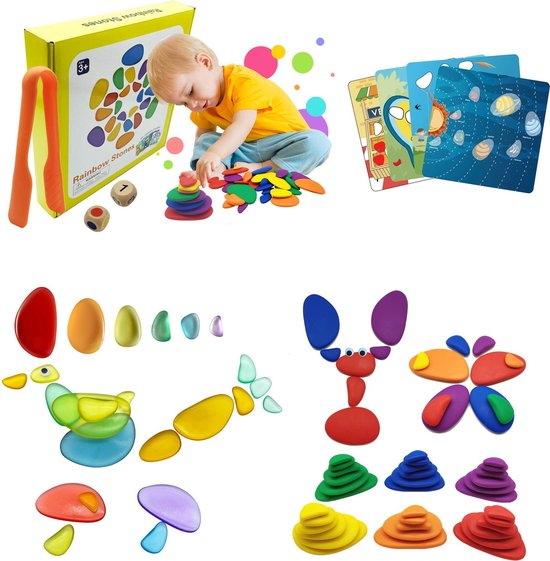 Aeneid Regenboog Kiezelstenen - Educatief - Jongens en Meisjes - Cadeau - Speelset - 3 jaar en ouder
