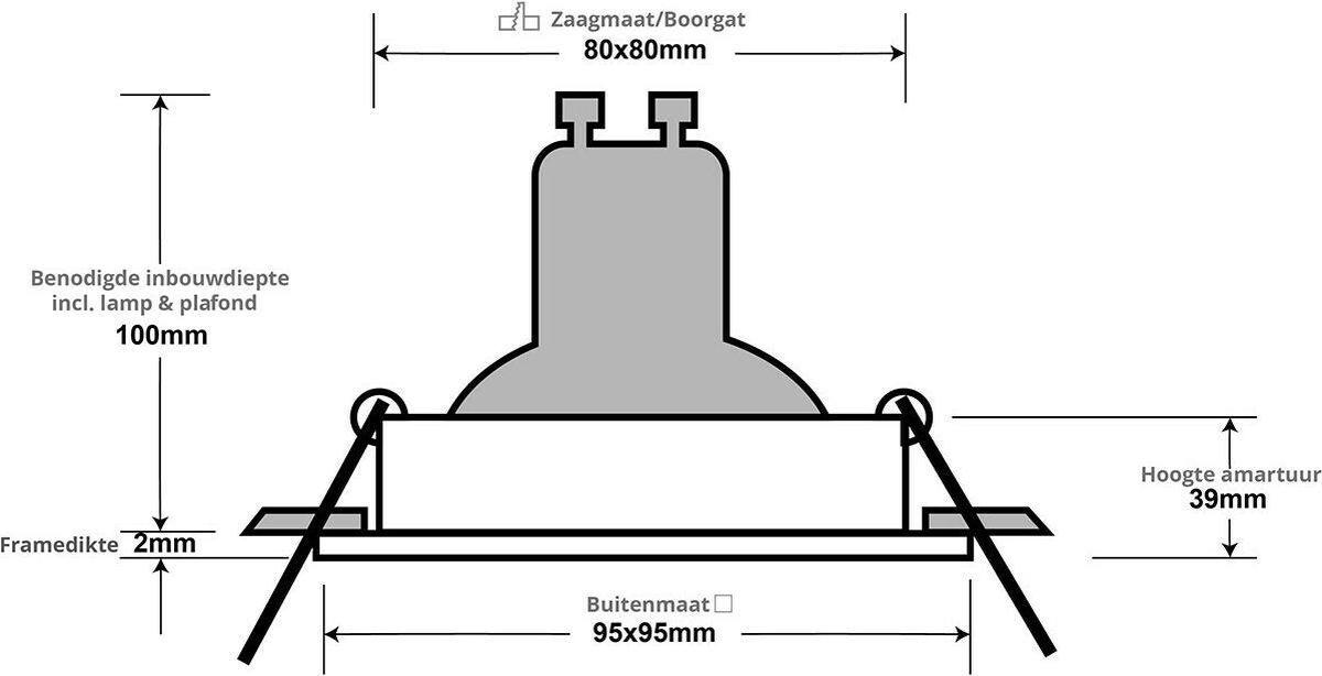 PHILIPS HUE - LED Spot Set GU10 - White Ambiance - Bluetooth - Pragmi Zano Pro - Inbouw Vierkant - Mat Zwart - Kantelbaar - 93mm