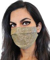 Glitter mondkapje wasbaar   Goud   met katoen   mondmasker