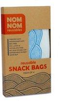 Nom Nom Reusables - herbruikbare snackzakjes - set van 4 -wave blauw